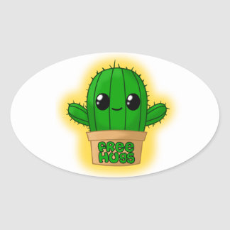 Huggable Cactus Oval Sticker
