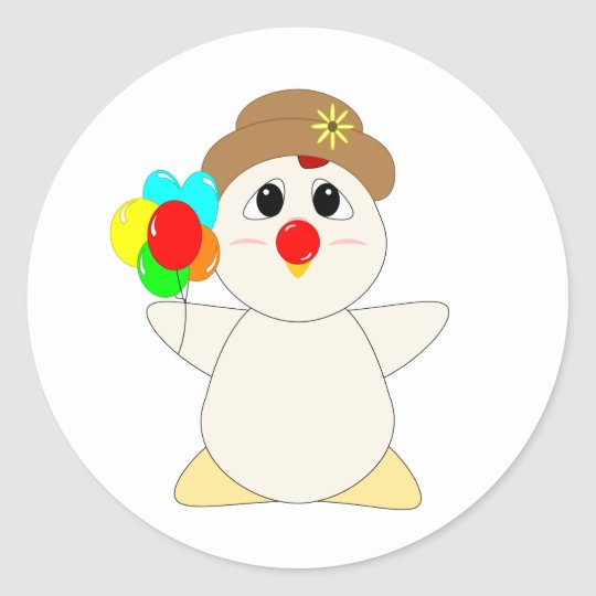Huggable Chicken Clown Classic Round Sticker