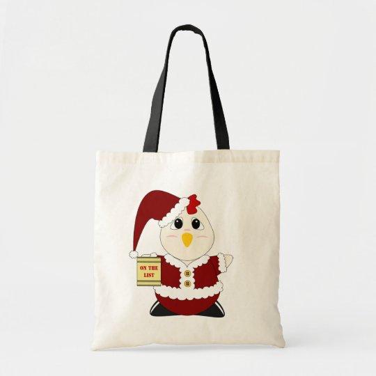 Huggable Chicken Santa Tote Bag