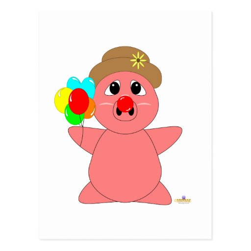 Huggable Clown Pink Piglet Postcard