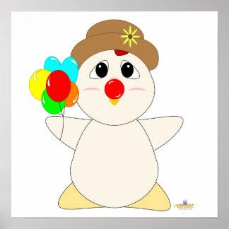 Huggable Clown White Chicken Print