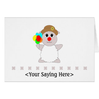 Huggable Clown White Sheep Card