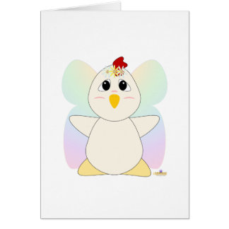 Huggable Fairy White Chicken Greeting Cards