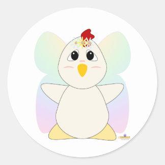 Huggable Fairy White Chicken Round Stickers