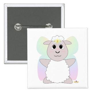 Huggable Fairy White Sheep Pinback Buttons