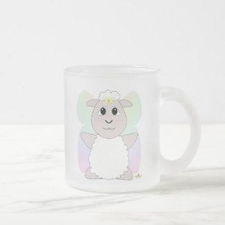Huggable Fairy White Sheep Frosted Glass Coffee Mug