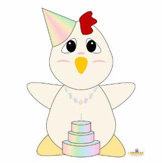 Huggable Pastel Birthday White Chicken Photo Sculpture Button