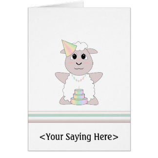 Huggable Pastel Birthday White Sheep Card