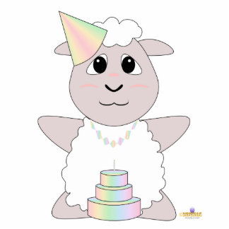 Huggable Pastel Birthday White Sheep Cut Outs