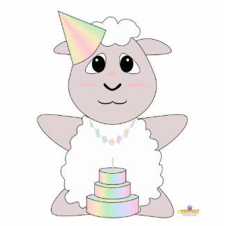 Huggable Pastel Birthday White Sheep Photo Sculpture Button