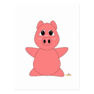 Huggable Pink Piglet Postcard