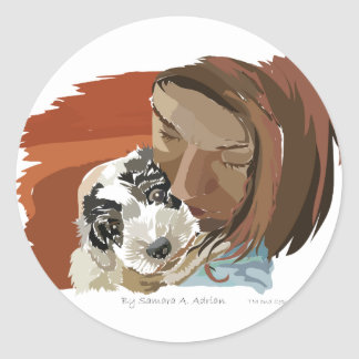 HUGGABLE PUPPY CLASSIC ROUND STICKER