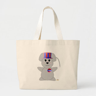 Huggable Voting Gray Mouse Tote Bags