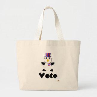 Huggable Voting Penguin Vote Canvas Bag