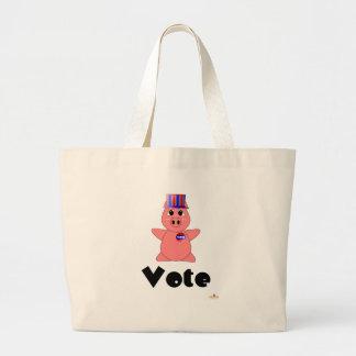 Huggable Voting Pink Piglet Vote Tote Bags