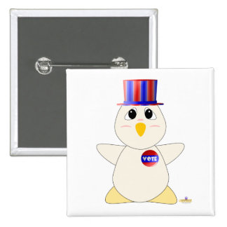 Huggable Voting White Chicken Pinback Buttons