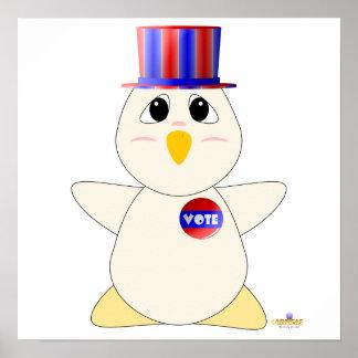Huggable Voting White Chicken Poster