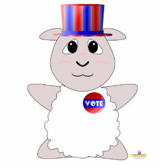 Huggable Voting White Sheep Photo Sculpture Button