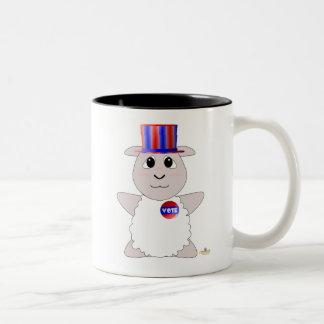 Huggable Voting White Sheep Two-Tone Coffee Mug