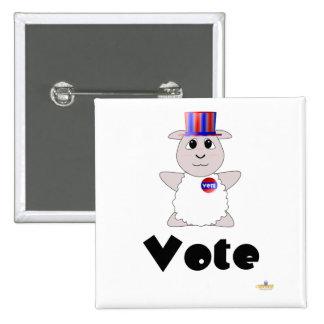 Huggable Voting White Sheep Vote Pinback Button