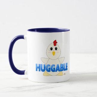 Huggable White Chicken Blue Huggable Mug