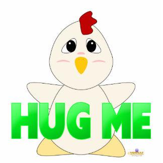 Huggable White Chicken Green Hug Me Photo Sculpture Button