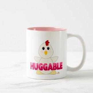 Huggable White Chicken Pink Huggable Two-Tone Coffee Mug