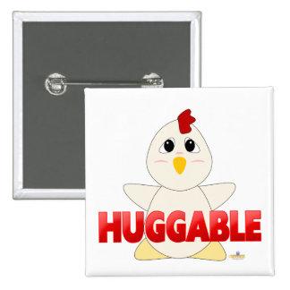 Huggable White Chicken Red Huggable Pinback Button