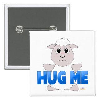 Huggable White Sheep Blue Hug Me Button