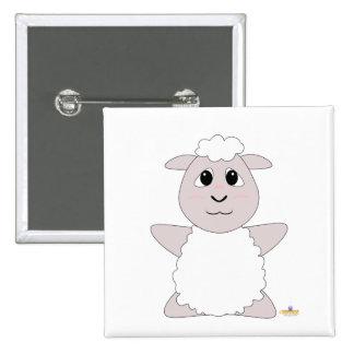 Huggable White Sheep Pinback Buttons