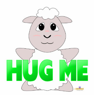 Huggable White Sheep Green Hug Me Photo Sculpture