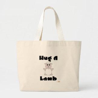 Huggable White Sheep Hug A Lamb Canvas Bag