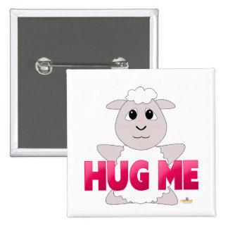 Huggable White Sheep Pink Hug Me Buttons