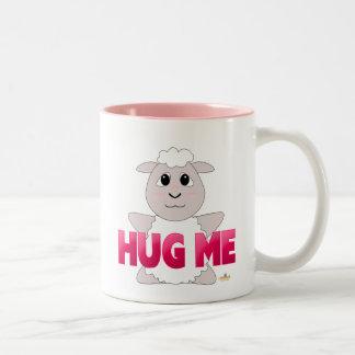 Huggable White Sheep Pink Hug Me Two-Tone Coffee Mug