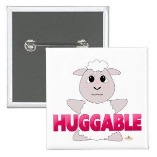 Huggable White Sheep Pink Huggable Button