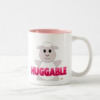 Huggable White Sheep Pink Huggable Two-Tone Coffee Mug