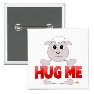 Huggable White Sheep Red Hug Me Buttons