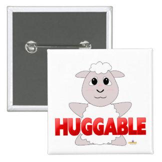 Huggable White Sheep Red Huggable Pinback Button
