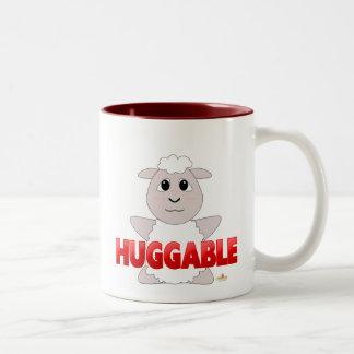 Huggable White Sheep Red Huggable Two-Tone Coffee Mug