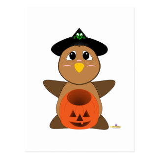 Huggable Witch Brown Owl Postcard