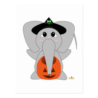 Huggable Witch Elephant Postcard