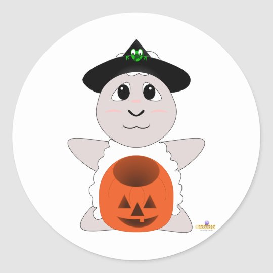 Huggable Witch White Sheep Classic Round Sticker