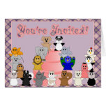 Huggables Pink And Purple Birthday Invitation Stationery Note Card