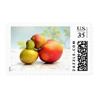 Hugging Fruit Red & Green Apples Valentine's Stamp