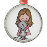 Hugging my Kitten - Design for Cat Lovers Round Metal Christmas Ornament