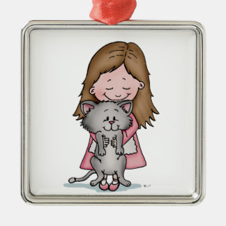 Hugging my Kitten - Design for Cat Lovers Ornaments
