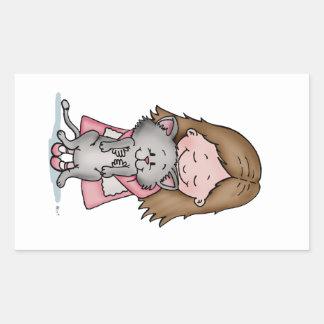 Hugging my Kitten - Design for Cat Lovers Rectangular Sticker
