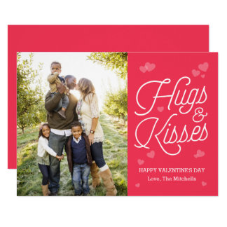 Hugging Script Valentine's Day Photo Cards