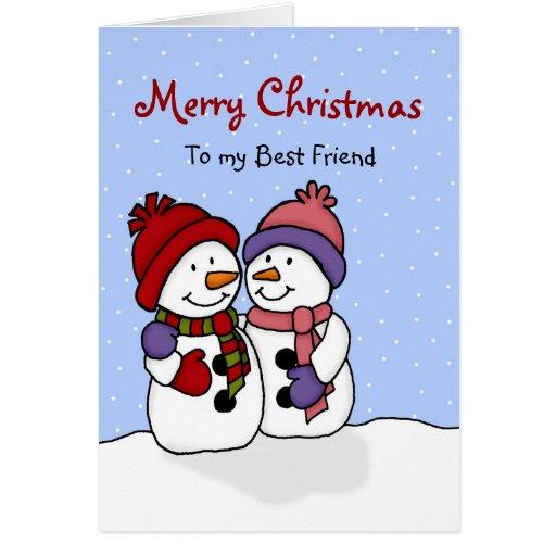 Hugging snowmen Christmas card