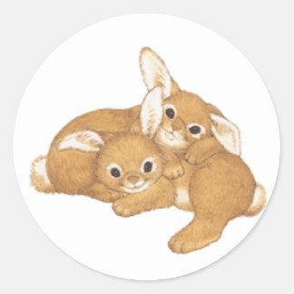 Huggy Bunnies Classic Round Sticker